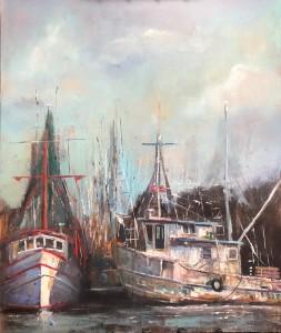 Delcambre Shrimp Boats At Port, Delcambre La., By Jerome Weber