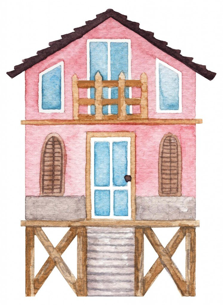 Watercolor Hand Drawn Spile Beach House
