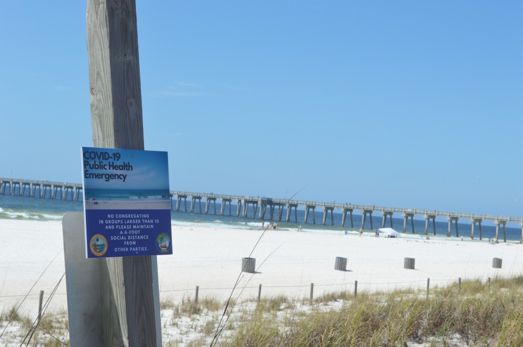 Covid 19 Sign At Beach