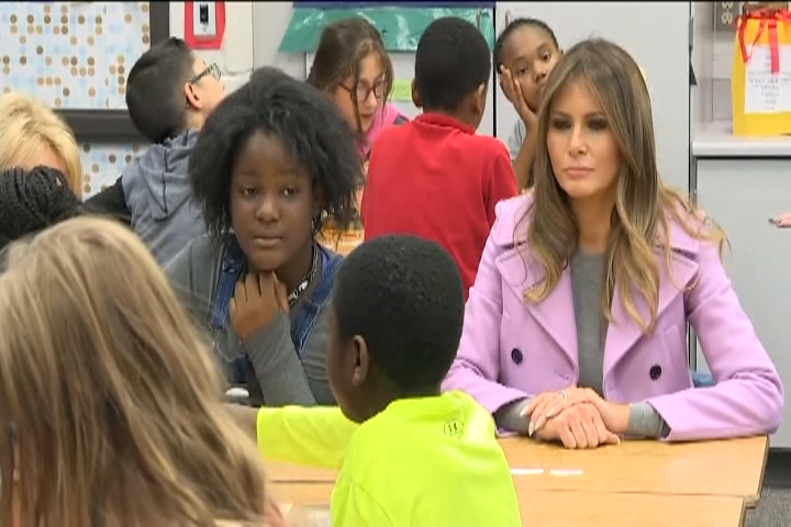 The First Lady Was In Michigan Monday Morning Visiting A Middle School With Education Secretary Betsy DeVos