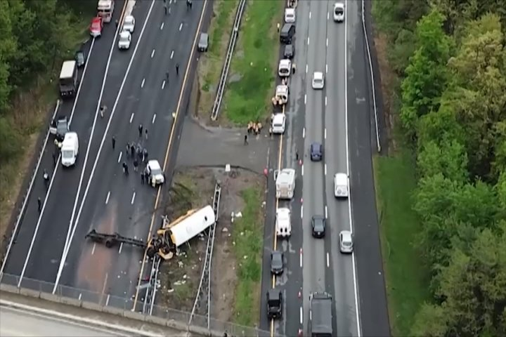 Multiple people hurt after school bus, dump truck crash on NJ highway