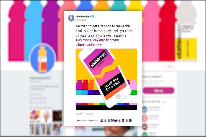 Vitamin Water Holding No Smartphone For One Year Contest