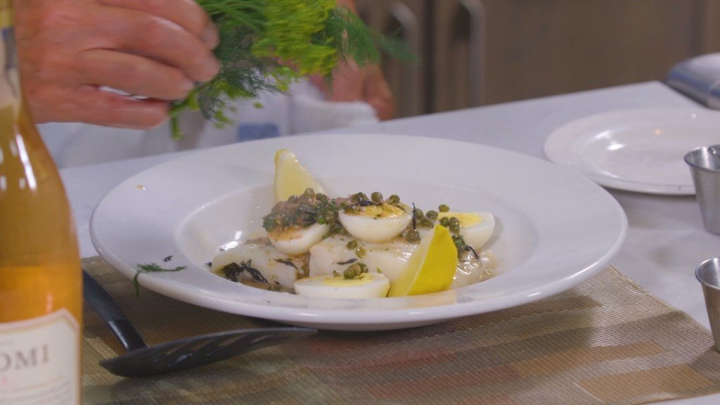 Braised Cod With Tarragon Sauce And Boiled Eggs.mp4