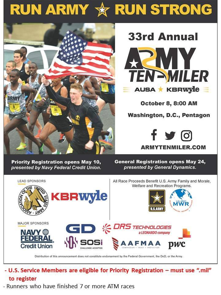 Priority Registration For The 2017 Army Ten Miler Opens May 10 For U S Service Members Registering From A Mil Email Address Or Runners Who Have Finished