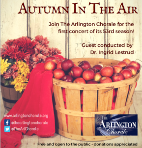"The Arlington Chorale concert - ""Autumn in the Air"" @ Unitarian Universalist Church of Arlington"