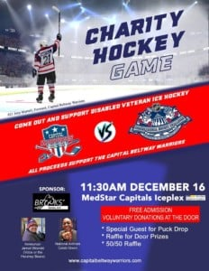 Charity Hockey Game:  Capital Beltway Warriors vs. Congressional Staffers and Lobbyists @ MedStar Capitals Iceplex