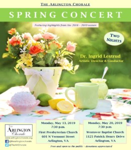 """The Arlington Chorale Concert """"Outside Going In"""" @ Westover Baptist Church"""