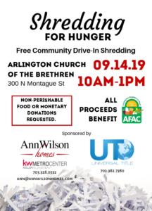 Shredding for Hunger - Free Community Drive-In Shredding @ Arlington Church of the Brethren