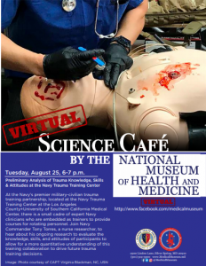 Virtual Medical Museum Science Cafe: Preliminary Analysis of Trauma Knowledge, Skills & Attitudes at the Navy Trauma Training Center @ National Museum of Health and Medicine |  |  |
