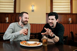 Adam Barnett (left) and Liam LaCivita cooked together at The Liberty Tavern before Barnett went to Eventide. Photo by Jonathan Timmes