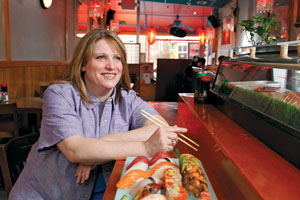 Amy Brandwein of Casa Nonna steps out for sushi at Bonsai. Photo by Jonathan Timmes