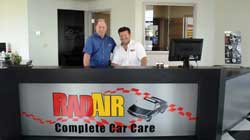 Shown behind the counter at Rad Air's Strongsville location are (from left) Mike Munger, manager of the Strongsville shop, and Andy Fiffick.