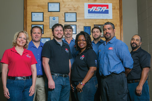 The Southeast Auto Service & Repair team includes (from left) Charlene Parlett, Andrew Parlett, Eddie Hodge, Keith Wondercheck, Porcha Carew, Jonathan Gardner, Abne Nieves and Giovanni Guerra.