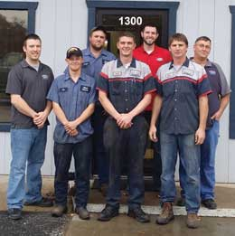 AutoWorx's staff in Boonville includes (back row, l to r): Justin Arnold, Ryan Holtwick, Danny Beach. Front row: Richard Woodson, Tim Brainard, David Keating, Dwain Lammers. Not shown: German Alfonso, Matt Harrison.