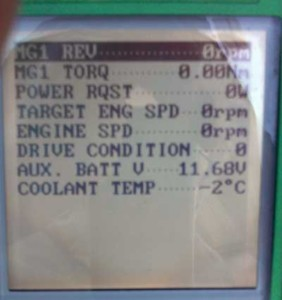 "Figure 1 - These parameters show ""Drive Condition at 0, ""Aux. Batt V"" is at 11.68v and ""Coolant Temp"" at -2 degrees Celsius."
