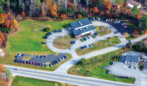 Aerial view of Atlantic Motorcar Center, an ASA member-shop in Wicasset, Maine.