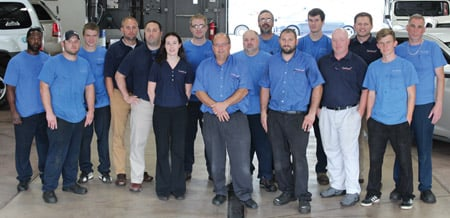 The Curt's Service team includes (from left) Shaun Goldsby, Chris Bunce, Nathan McNeil, Greg Dargo, Tim Lupu, Amber Dimmer, Ryan Kennedy, Curt Massoll, Brian Nurmi, Aaron Kaurala, Keith Massoll, John Kaurala, Jayson Preston, Andy Massoll, James Hawkins and John Corsiglia. Not in the photo, but also a member of the team, is Greg Gunderson.
