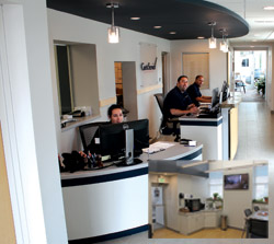 Ready to help customers in the newly redone office area are (from left) Amber Dimmer, Tim Lupu and Greg Dargo. Inset is a view of the customers' waiting room, which also has been recently refurbished.