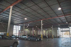 High ceilings and ample space enable Kinney's to work on large vehicles.