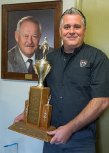 Mark is as proud of his portrait of his dad, Rolf, as his trophy from ASA-Northwest as the Washington Outstanding Shop of the Year.