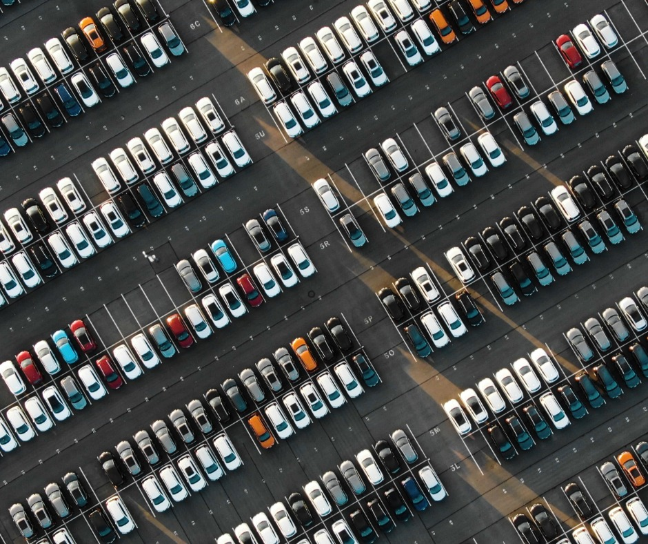 Aerial View Of The Parked New Cars At The Automotive Plant Picture Id1158232690
