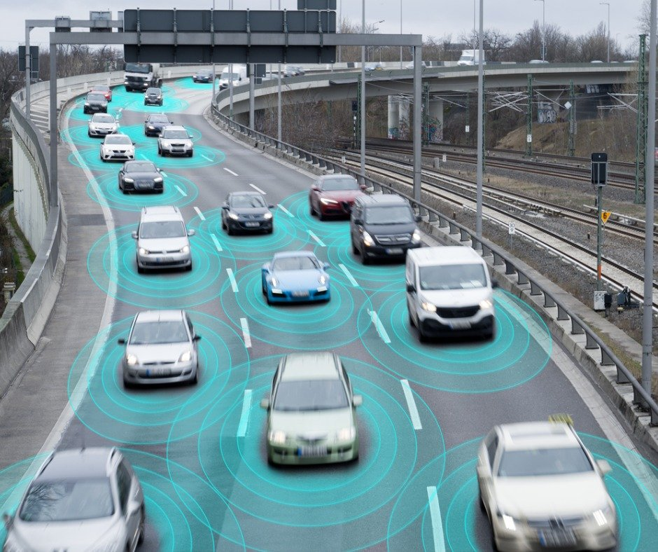 Autonomous Selfdriving Cars On Highway Picture Id1137378567