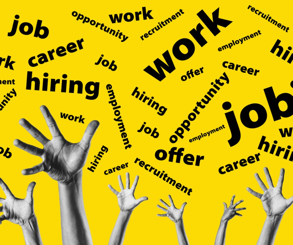 Group Hands Trying To Reach Job Offers Over A Yellow Background For Picture Id1171599433