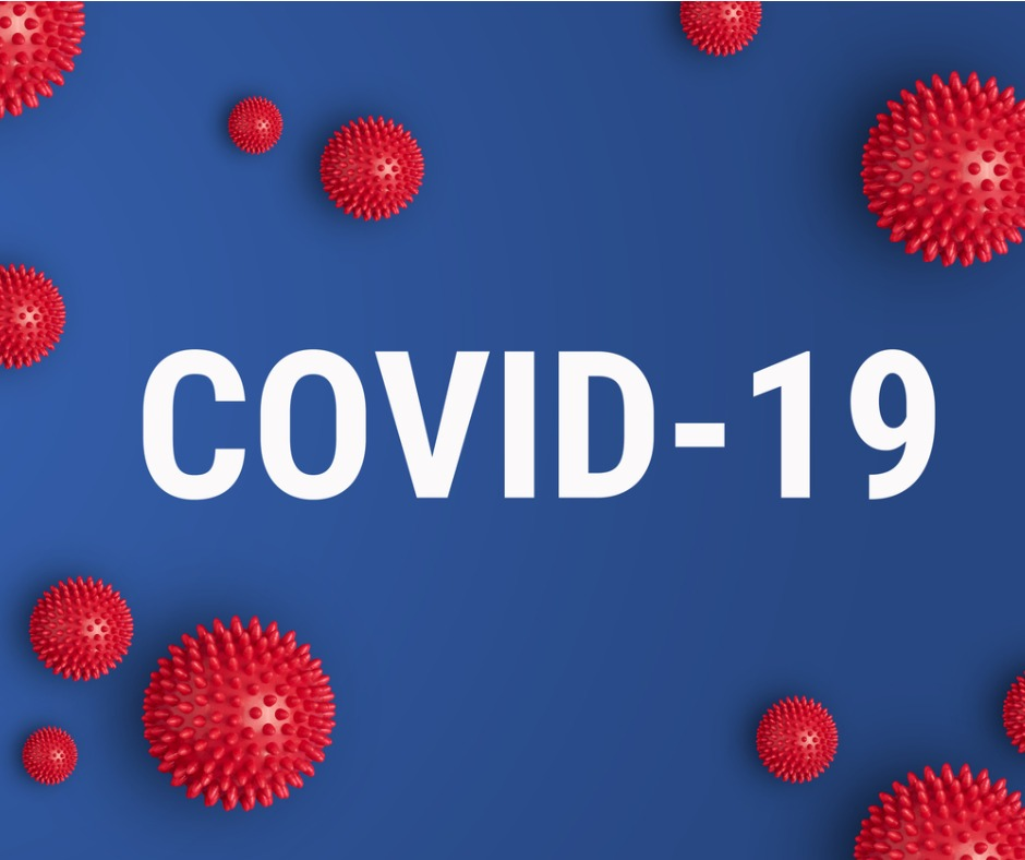 Inscription Covid19 On Blue Background With Red Strain Model Of Picture Id1205872236