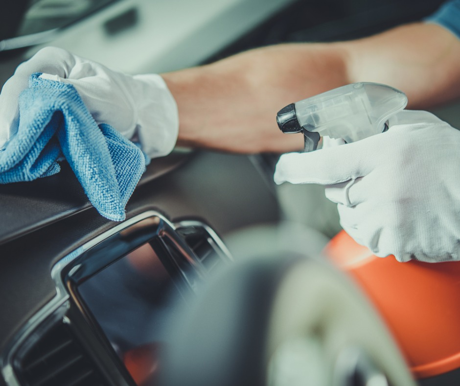 Worker Cleaning Car Dashboard Picture Id1140002222