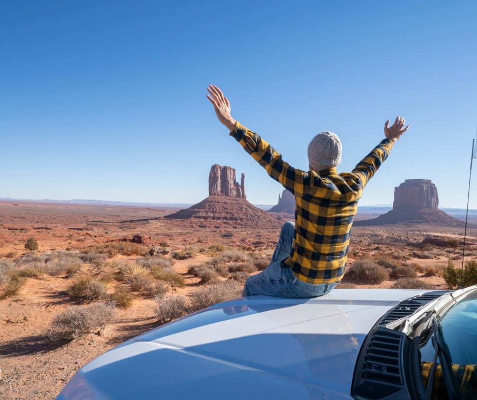 Young Man With Rental Motor Home Enjoying Road Trip In Usa Picture Id1159667849
