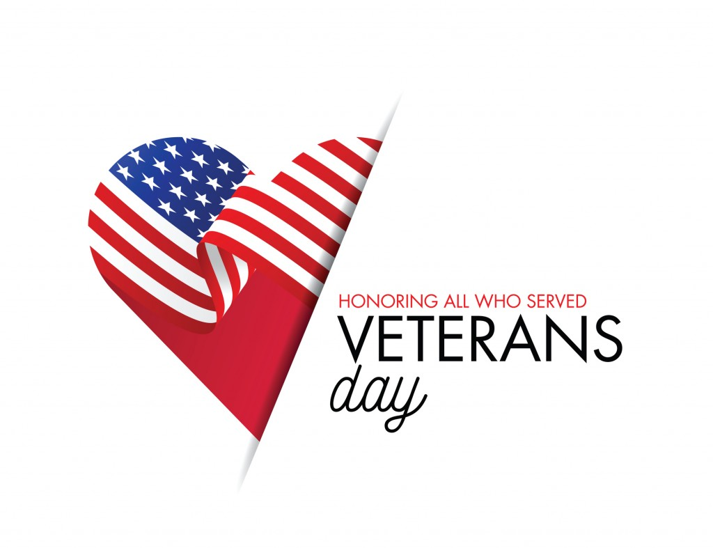 Veterans Day Vector Illustration, Honoring All Who Served, Usa Flag Waving On Blue Background. Stock Illustration