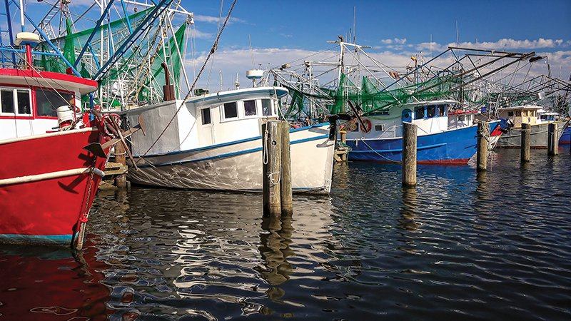 Shrimp Fishing Boats In Harbor In Biloxi, Mississippi