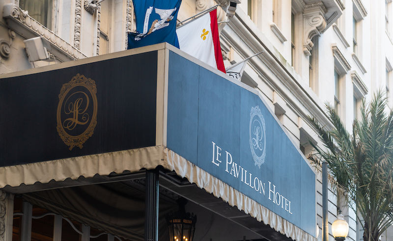 Upscale Luxury Le Pavillon Hotel Building Sign By Ent8rance On Baronne Plaza Street In Downtown In Louisiana City