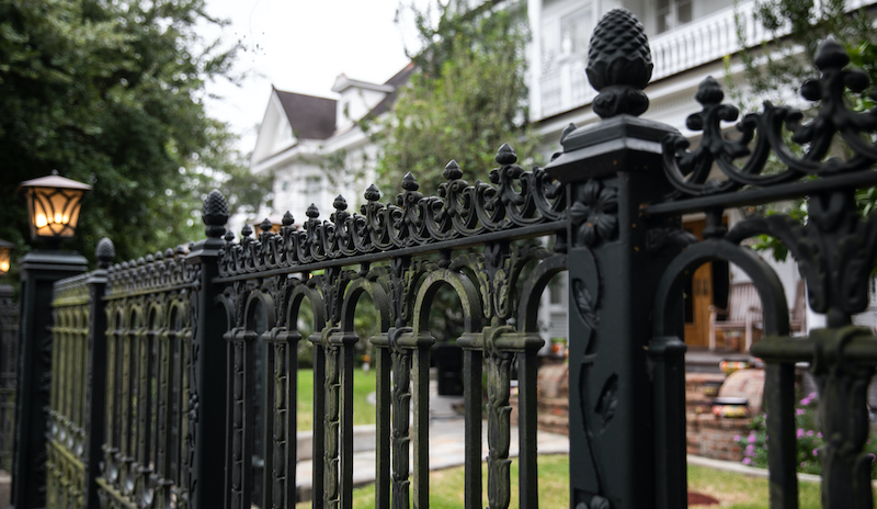 Beautiful Black Iron Gate And Fence In Front Of House