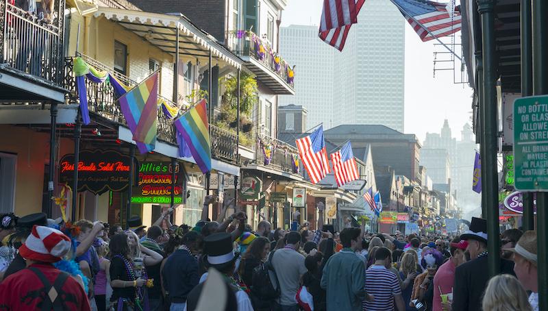 Bourbon Street Crowd During Mardi Gras