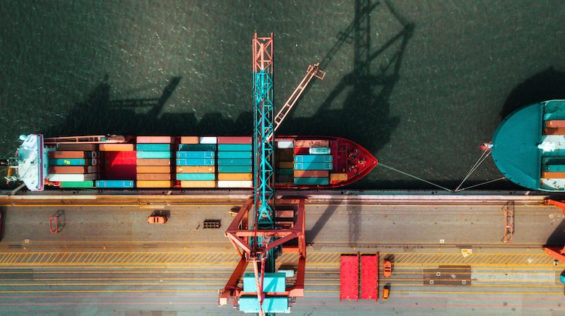 High Angle View On Cargo Crane Container Terminal