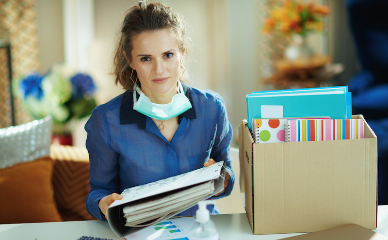 Trendy Woman With Medical Mask Organising Home Office