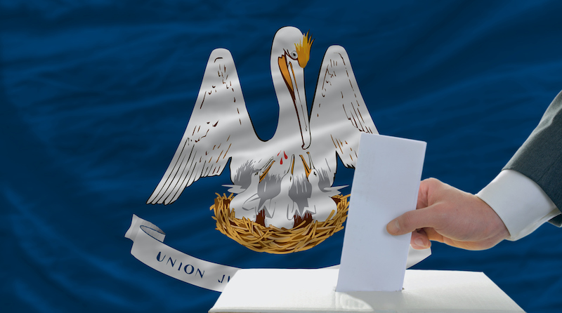 Elections Voting In Front Of Flag Of Louisiana