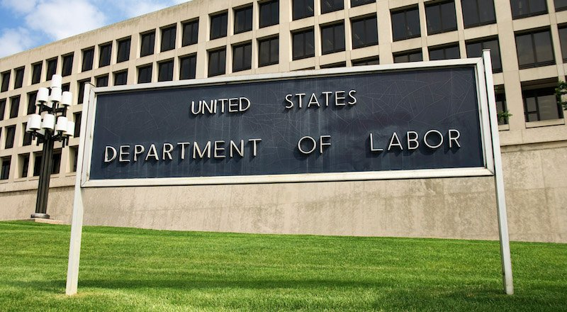 Sign Outside Department Of Labor Building, Washington, Dc