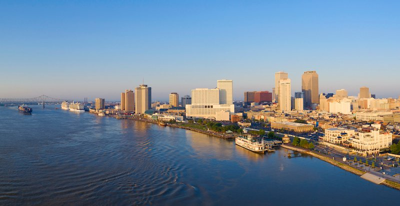Aerial View Of Mississippi River And New Orleans Louisiana
