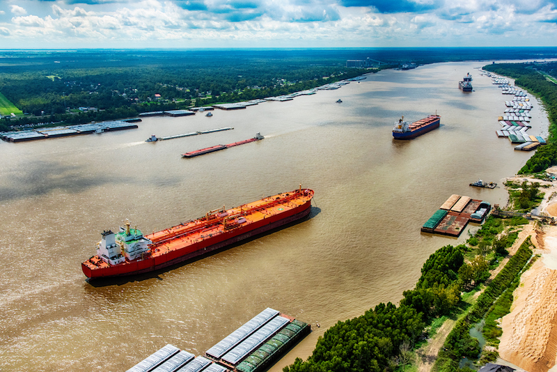 Oil Tankers On The Mississippi