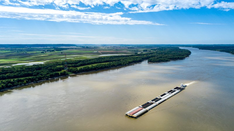 Mississippi River Barge From Drone