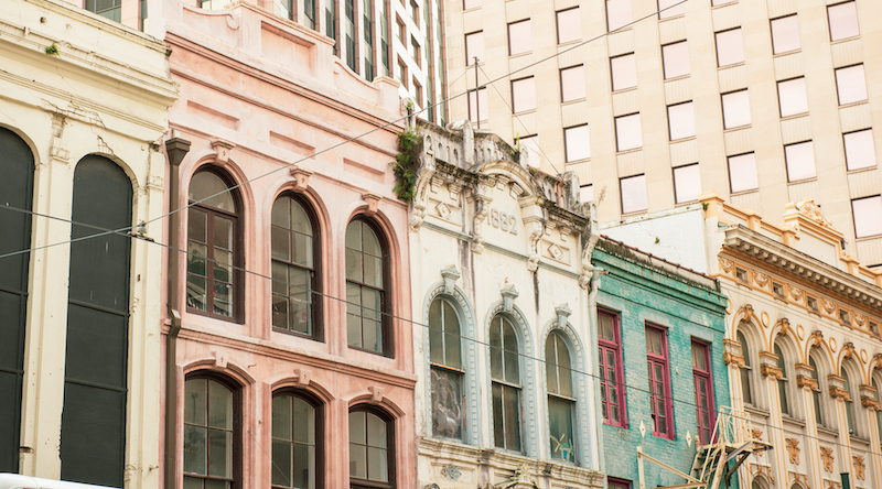 Colorful Canal Street Cityscape By The French Quarter In New Orleans Louisiana