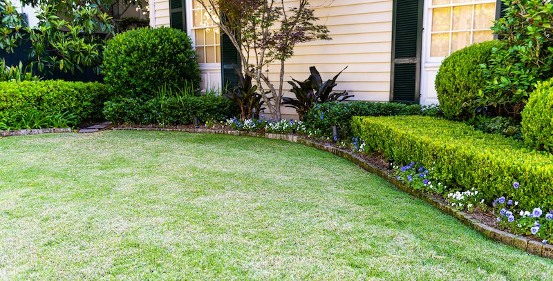 Old Historic Garden District In New Orleans, Louisiana With Green Grass Lawn Garden, Flowers And Ornamental Decorative Bushes By House