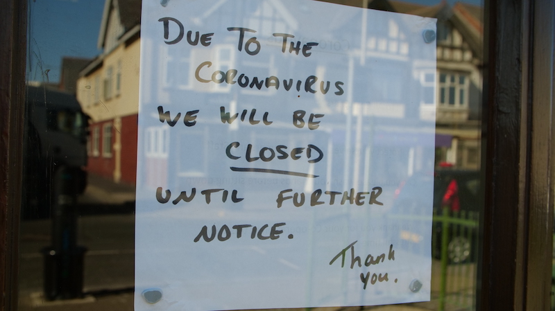 Closed Sign In Window Due To Coronavirus Pandemic