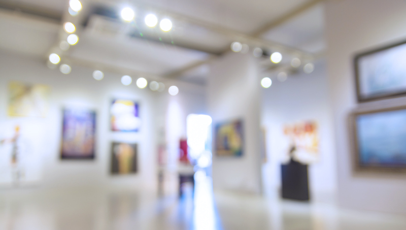 Abstract Blur Defocus Background Of Art Gallery Museum Or Showroom