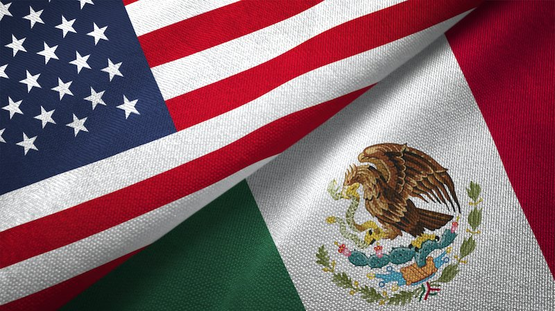 Mexico And United States Two Flags Together Realations Textile Cloth Fabric Texture