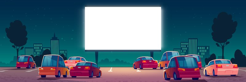 Outdoor Cinema, Drive In Movie Theater With Cars
