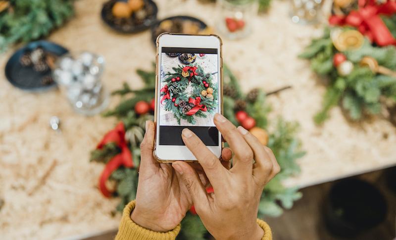Florist Creating Social Media Content