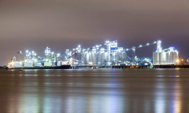 Refinery Illuminated At Night